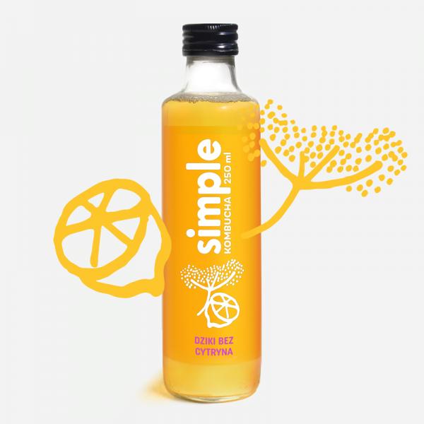 butelka simple kombucha o smaku dzikiego bzu i cytryny