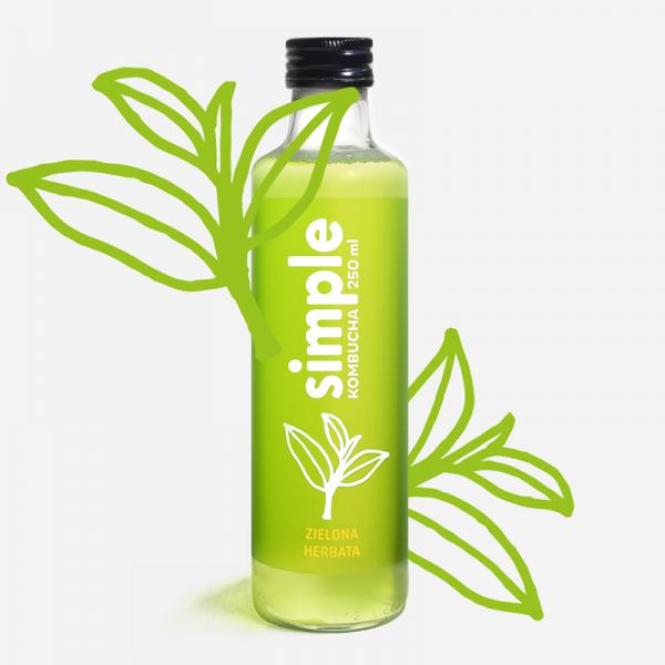 butelka simple kombucha o smaku zielonej herbaty